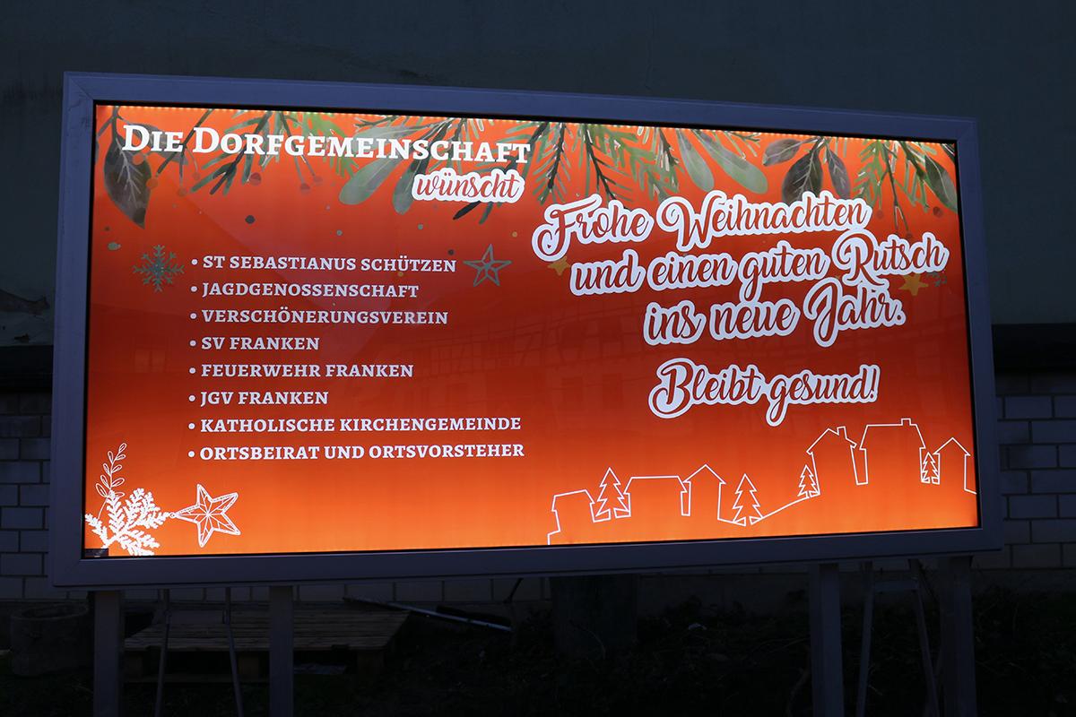 Weihnachtgruss der Dorfgemeinchaft in Sinzig-Franken